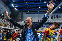 Coach Redbad Strikwerda of Dynamo celebrate after 3-1 win in the last final league match between Draisma Dynamo vs. Amysoft Lycurgus on April 25, 2021 in Apeldoorn.