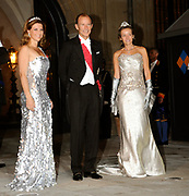 Gala dinner on the occasion of the civil wedding of Grand Duke Guillaume and Princess Stephanie at the Grand-Ducal palace in Luxembourg <br /> <br /> On the photo: Princess Martha Louise of Norway with Prince Kyril of Bulgaria and his sister-in-law Miriam Ungria and Lopez, princess of Tirnovo