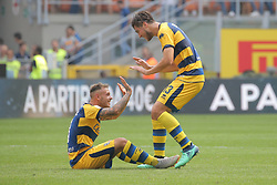 September 15, 2018 - Milan, Milan, Italy - Francisco Sierralta #13 of Parma Calcio 1913 and Federico Dimarco #3 of Parma Calcio 1913 celebrate a victory at the end of the serie A match between FC Internazionale and Parma Calcio 1913 at Stadio Giuseppe Meazza on September 15, 2018 in Milan, Italy. (Credit Image: © Giuseppe Cottini/NurPhoto/ZUMA Press)