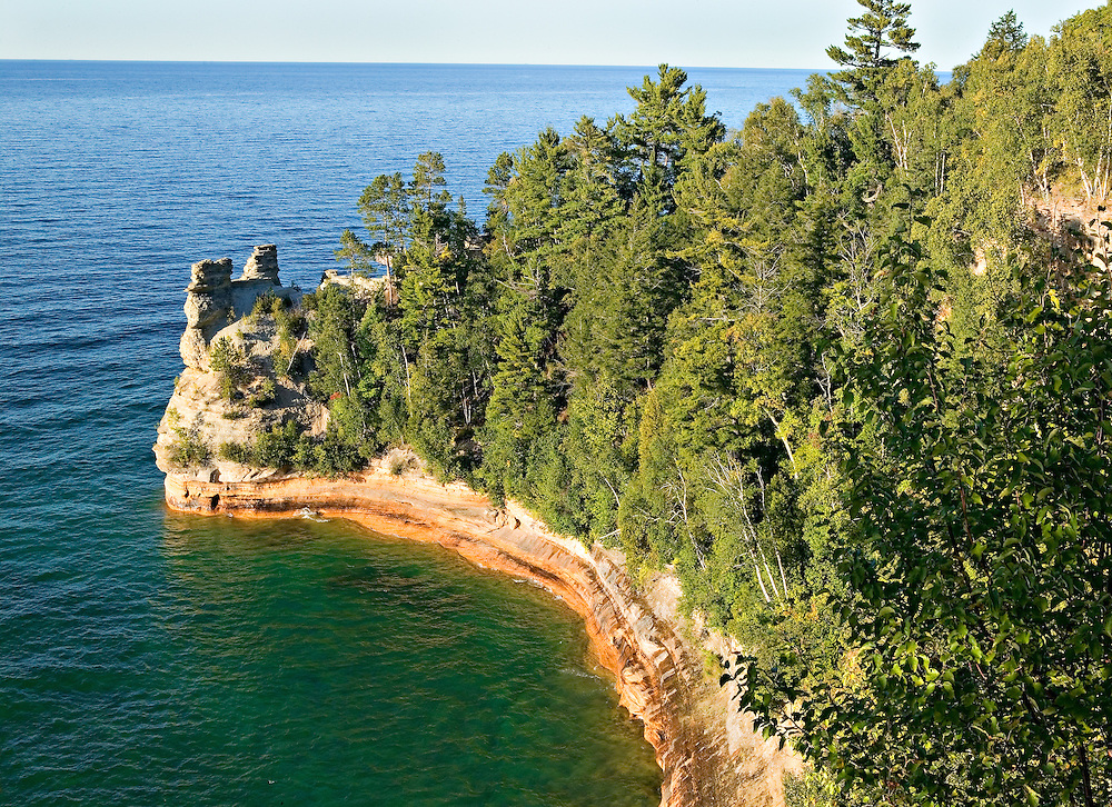 Lake Superior; rock outcropping on shore; Miner's Castle Overlook