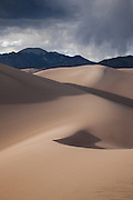 View across the dune field to Mount Cleveland, Great Sand Dunes National Park, Colorado.