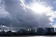 Dark clouds and skies gather above London mayor Sadiq Khan's offices on the Southbank, on 20th October 2021, in London, England.