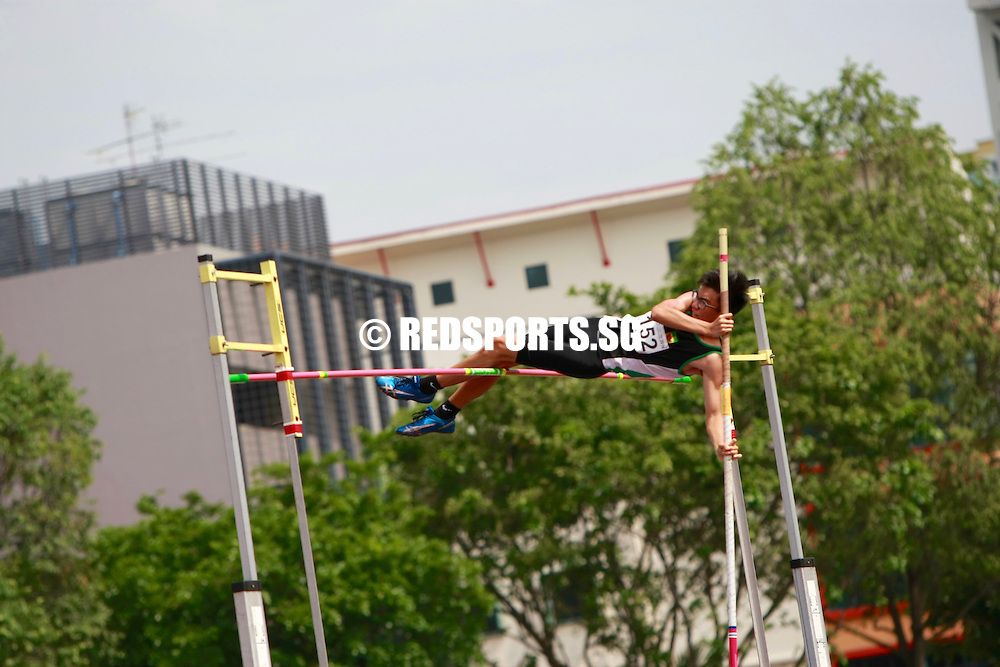 Bishan Stadium, Thursday, April 14, 2016 — Jerome Boon of Raffles Institution (RI) made it two out of two when he clinched the A Division Boys' pole vault gold at the 57th National Schools Track and Field Championships. <br /> <br /> The RI Year 6 student, who won the gold last year with a 4.08 metres effort, set a new personal best this time round when he vaulted over 4.23m.