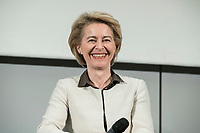 """14 JAN 2019, BERLIN/GERMANY:<br /> Ursula von der Leyen, CDU, Bundesverteidigungsministerin, Veranstaltung der Konrad-Adenauer-Stiftung, KAS, """"Frauenpolitik - Auftrag fuer morgen!"""", Sheraton Hotel <br /> IMAGE: 20190114-01-056<br /> KEYWORDS: Freundlich, lacht, lachen"""