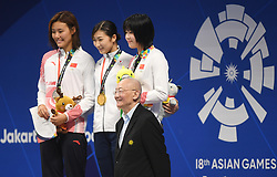 JAKARTA, Aug. 24, 2018  Wei Jizhong (Front), Olympic Council of Asia (OCA) Honorary Life Vice Chairman, poses for pictures with gold medalist Ikee Rikako (C back) of Japan, silver medalist Liu Xiang (L back) of China and bronze medalist Wu Qingfeng of China during the awarding ceremony after women's 50m freestyle final of swimming at the 18th Asian Games in Jakarta, Indonesia, Aug. 24, 2018. (Credit Image: © Pan Yulong/Xinhua via ZUMA Wire)