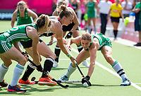 ANTWERP - BELFIUS EUROHOCKEY Championship.women  Ireland-Gemany (1-1).  Germany placed for semifinals . Kathryn Mullan (Irl)  with Franzisca Hauke (Ger) WSP/ KOEN SUYK