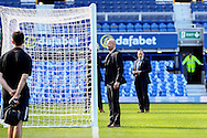 Referee Lee Mason checks out the goal line  hawk eye system. Premier league match, Everton v Middlesbrough at Goodison Park in Liverpool, Merseyside on Saturday 17th September 2016.<br /> pic by Chris Stading, Andrew Orchard sports photography.