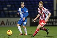 Jordan Richards (Hartlepool United) watches as his pass goes down the wing to set up another attack during the Sky Bet League 2 match between Hartlepool United and Stevenage at Victoria Park, Hartlepool, England on 9 February 2016. Photo by Mark P Doherty.
