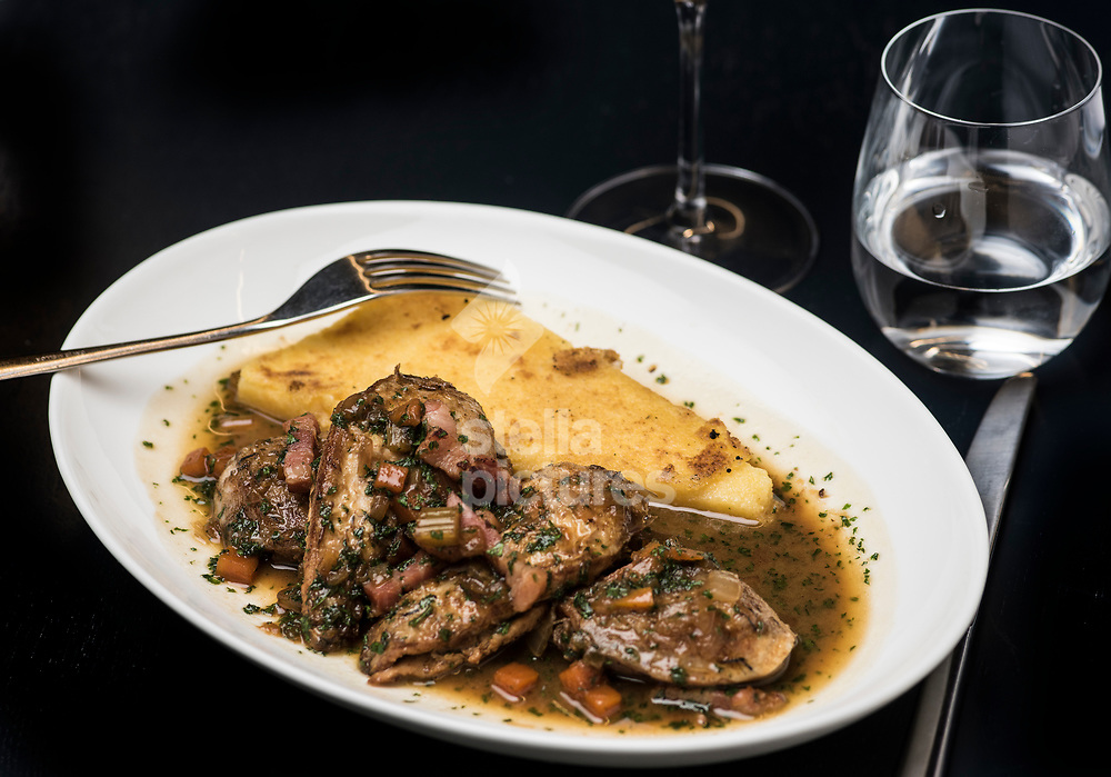 Salmi of partridge with polenta at Parabola at The Design Museum, Kensington.<br /> Picture by Daniel Hambury/Stella Pictures Ltd 07813022858<br /> 25/09/2017