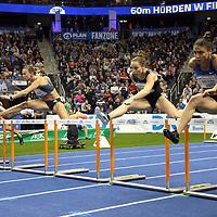 14.02.2020, Mercedes Benz Arena, Berlin, GER, ISTAF-Indoor 2020 Berlin, im Bild <br /> 60m Hurdles Women   (v.l.n.r.)<br /> Tobi Amusan (NGR) - Siegerin<br /> Nooralotta Nezeri (FIN)<br /> Nadine Visser (NED)<br /> Luca  Kozak (HUN)<br /> Pamela Dutkiewicz (GER)<br /> <br />      <br /> Foto © nordphoto / Engler