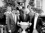Members of Kerry's All-Ireland-winning team pay a courtesy call to Abbeyville, the home of Charles Haughey TD, along with the Sam Maguire cup, won at Croke Park the previous day. (l–r:) Tom Spillane, Tommy Doyle, Paudie Ó Sé, Charles Haughey, Jack O'Shea and Mick O'Dwyer.<br /> 22 September 1986