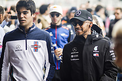 May 13, 2018 - Barcelona, Catalonia, Spain - 44 Lewis Hamilton from Great Britain Mercedes W09 Hybrid EQ Power+ team Mercedes GP with 18 Lance Stroll from Canada with Williams F1 Mercedes FW41 during the Spanish Formula One Grand Prix at Circuit de Catalunya on May 13, 2018 in Montmelo, Spain. (Credit Image: © Xavier Bonilla/NurPhoto via ZUMA Press)