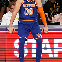 21 January 2018: New York Knicks center Enes Kanter (00) waits to enter the game during the LA Lakers 127-107 victory over the New York Knicks, at the Staples Center, Los Angeles, California, USA.