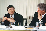 Washington, DC 2000/04/05 Bill Gates and President Bill Clinton at a White House Conference on the New Economy.<br /> Photo by Dennis Brack