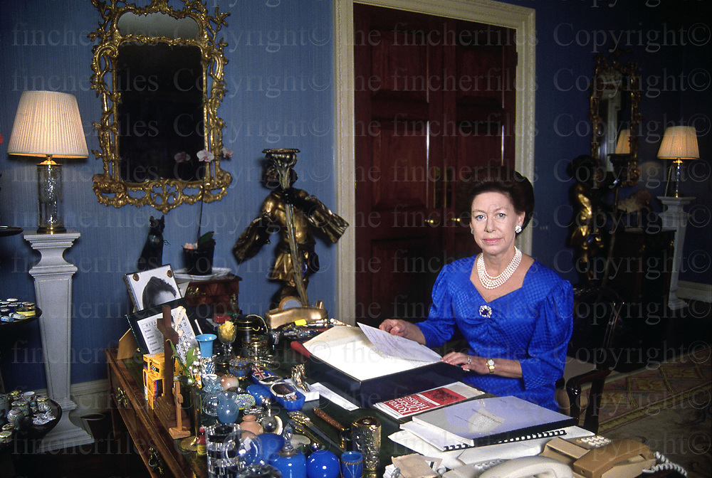 Princess Margaret seen at her desk at London home Kensington Palace in October 1988. Photographed by Jayne Fincher