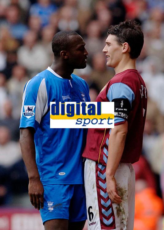 Photo: Glyn Thomas.<br />Aston Villa v Birmingham City. The Barclays Premiership. 16/04/2006.<br /> Aston Villa's Gareth Barry (R) squares up to Birmingham's Gareth Barry.