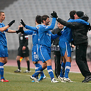 Istanbul BBSpor's players celebrate victory during their Turkish soccer superleague match Istanbul BBSpor between Galatasaray at the Ataturk Olympic stadium in Istanbul Turkey on Saturday 26 February 2011. Photo by TURKPIX