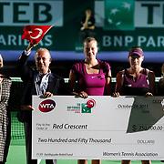 Australian Samantha Stosur (2ndR) and Petra Kvitova of the Czech Republic (C) during their TEB BNP Paribas WTA Championships at Sinan Erdem Arena in Istanbul Turkey on Tuesday, 29 October 2011. Photo by TURKPIX