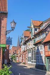 Street in historic village of Lauenburg in Schleswig-Holstein Germany
