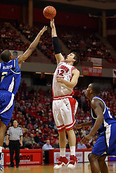 27 January 2008: Isiah Martin can't extend high enough to block a shot by Levi Dyer in a game where the Indiana State Sycamores were cut down by the Illinois State Redbirds 65-62 on Doug Collins Court at Redbird Arena in Normal Illinois..