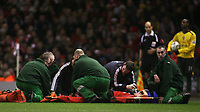 Photo: Paul Thomas.<br /> Liverpool v Arsenal. Carling Cup. 09/01/2007.<br /> <br /> Mark Gonzalez of Liverpool lays injured on the floor getting oxygen then gets carried off.