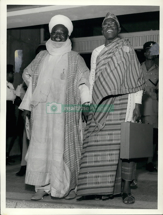 Feb. 02, 1967 - All-Nigeria Constitutional talks, Lagos, Sept. 1966.: ''The Etsu Nupe'' Alhaji Usman Sarki (left) a member of the Northern delegation, exchanges a joke with Chief J.I.G. Onyia, a member of the Mid-West delegation, and former Federal Minister in the suspended Federal Cabinet. (Credit Image: © Keystone Press Agency/Keystone USA via ZUMAPRESS.com)