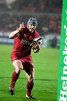 Rugby Union  - 2017 / 2018 European Champions Cup Pool 5. Llanelli Scarlets vs Bath<br /> <br /> Jonathan Davies of Llanelli Scarlets  calls for a mark ,in heavy rain  at Parc Y Scarlets.<br /> <br /> COLORSPORT/WINSTON BYNORTH