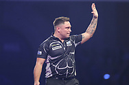 Gerwyn Price leaves the stage after his 6-3 defeat to Peter Wright during the PDC William Hill World Darts Championship Semi-Final at Alexandra Palace, London, United Kingdom on 30 December 2019.