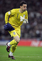 Photo: Paul Thomas/Sportsbeat Images.<br /> England v Croatia. UEFA European Championships Qualifying. 21/11/2007.<br /> <br /> Scott Carson of England takes his place in goal.