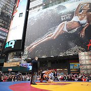 Wrestlers in action during the 'Beat The Streets' USA Vs The World, International Exhibition Wrestling in Times Square. New York, USA. 7th May 2014. Photo Tim Clayton