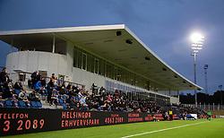 Hovedtribunen under kampen i 1. Division mellem FC Helsingør og Silkeborg IF den 11. september 2020 på Helsingør Stadion (Foto: Claus Birch).