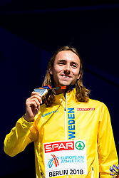 August 12, 2018 - Berlin, GERMANY - 180812 Andreas Kramer of Sweden with his silver medal at the medal ceremony for the men's 800 meter during the European Athletics Championships on August 12, 2018 in Berlin..Photo: Vegard Wivestad GrÂ¿tt / BILDBYRN / kod VG / 170207 (Credit Image: © Vegard Wivestad Gr¯Tt/Bildbyran via ZUMA Press)
