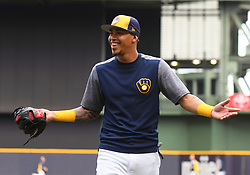 May 8, 2018 - Milwaukee, WI, U.S. - MILWAUKEE, WI - MAY 08: Milwaukee Brewers Shortstop Orlando Arcia (3) has a laugh before a MLB game between the Milwaukee Brewers and Cleveland Indians on May 8, 2018 at Miller Park in Milwaukee, WI. The Brewers defeated the Indians 3-2.(Photo by Nick Wosika/Icon Sportswire) (Credit Image: © Nick Wosika/Icon SMI via ZUMA Press)