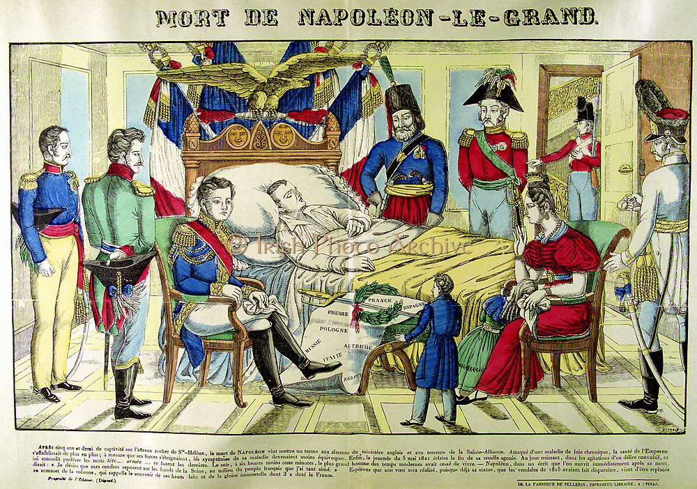 Death of Napleon the Great', 5 May 1821. Popular French coloured print.
