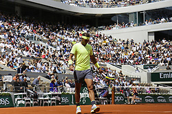 May 27, 2019 - Paris, France - Rafael Nadal of Spain reacts after getting a point during the man's singles first round of the French Open tennis tournament against Yannick Hanfmann of Germany at Roland Garros in Paris, France on May 27, 2019. (Credit Image: © Ibrahim Ezzat/NurPhoto via ZUMA Press)