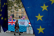 On the day that the EU in Brussels agreed in principle to extend Brexit until 31st January 2020 aka Flextension and not 31st October 2019, a pedestrian walks past Brexit Party flags and banners during a Brexit protest outside parliament, on 28th October 2019, in Westminster, London, England.