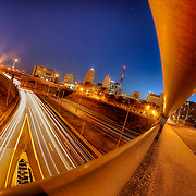 Above 71 Highway near 8th and Harrison, downtown Kansas City, Missouri.