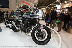 """Shinya Kimura custom commissioned by Yamaha as part of their """"Faster Sons"""" program in the Yamaha display at EICMA, the largest international motorcycle exhibition in the world. Milan, Italy. November 21, 2015.  Photography ©2015 Michael Lichter."""