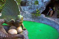 Dino Park, one of the more outlandish attractions in Phuket, is not only a Jurrasic theme park but an 18 hole mini golf course in case you get bored waiting for the faux volcano to erupt.