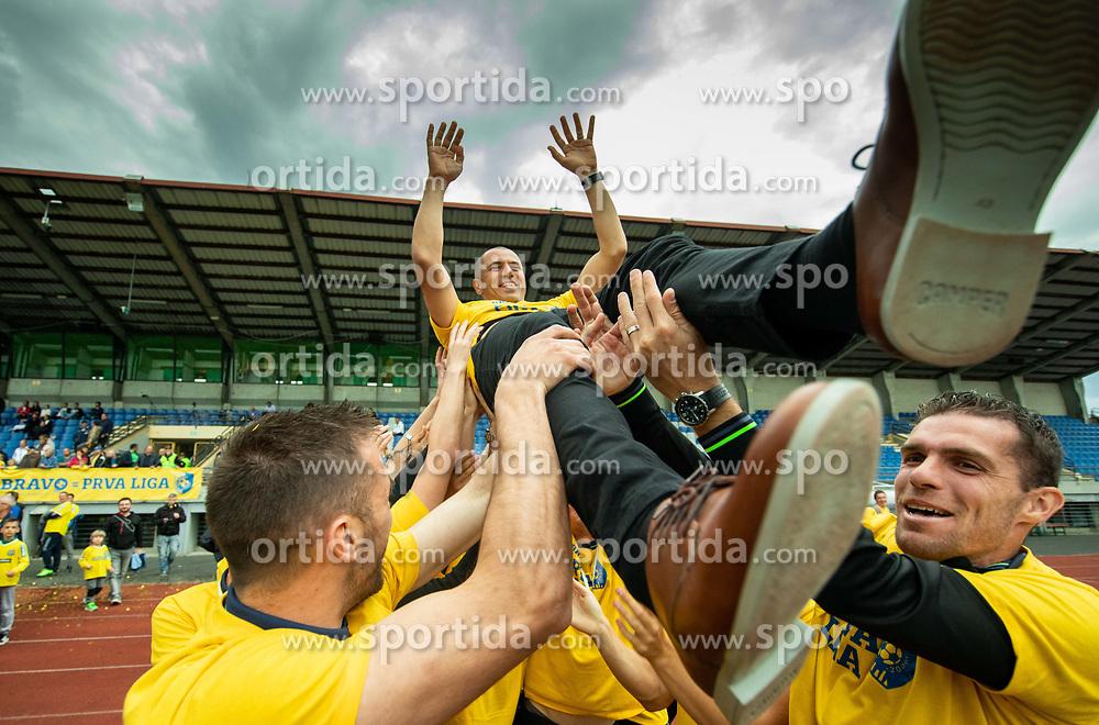 Dejan Grabic, coach during celebration of NK Bravo, winning team in 2nd Slovenian Football League in season 2018/19 after they qualified to Prva Liga, on May 26th, 2019, in Stadium ZAK, Ljubljana, Slovenia. Photo by Vid Ponikvar / Sportida
