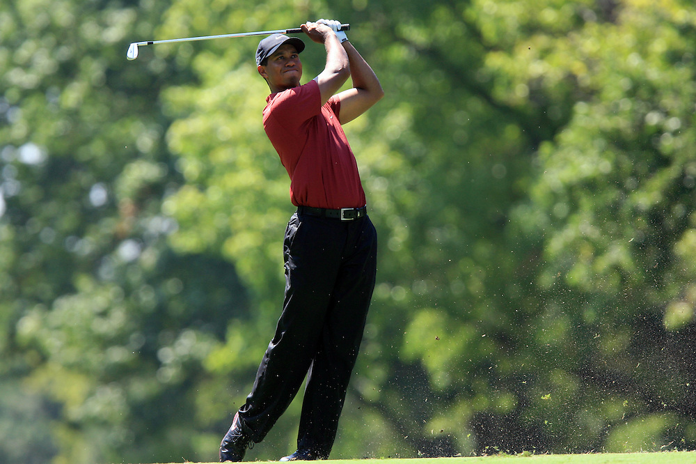 12 August 2007: Tiger Woods hits his 2nd shot on the 7th hole during the final round of the 89th PGA Championship at Southern Hills Country Club in Tulsa, OK.