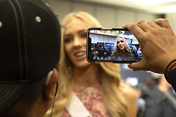 December 5, 2019, Atlanta, Georgia, USA: Anni Harjunp , 23,  greets media on first day of preparations for Miss Universe competition. She hadn't entered any beauty pageants  until 2019, when she was crowned Miss Finland earlier this year. (Credit Image: © Robin Rayne/ZUMA Wire)