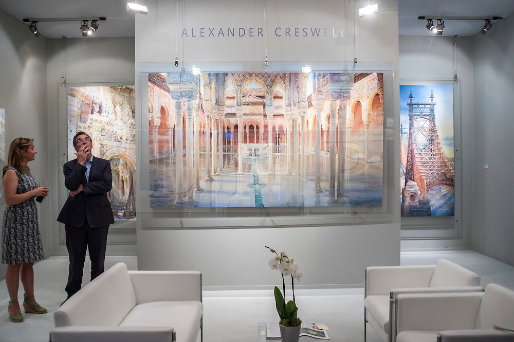 "© Licensed to London News Pictures. 24/06/2015. London, UK.   Andrew Cresswell's ""Monumental watercolours"" on display at the preview of Masterpiece London, the international cross-collecting Fair for art, antiques and design which takes place at The Royal Hospital Chelsea 25 June to 1 July. Photo credit : Stephen Chung/LNP"