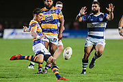 Bay of Plenty's Otere Black clears the ball against Auckland during the Mitre 10 Cup match played at Rotorua International Stadium in Rotorua on Friday 2nd October 2020.<br /> Copyright photo: Alan Gibson / www.photosport.nz