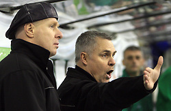 Coaches of Olimpija Bojan Zajc and Randy Edmonds at 39th Round of EBEL League ice hockey match between HDD Tilia Olimpija and HK Acroni Jesenice, on December 30, 2008, in Arena Tivoli, Ljubljana, Slovenia. Tilia Olimpija won 4:3. (Photo by Vid Ponikvar / SportIda).