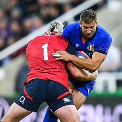 Tommaso Benvenuti of Italy is tackled by Joe Marler of England<br /> <br /> Photographer Craig Thomas/Replay Images<br /> <br /> Quilter International - England v Italy - Friday 6th September 2019 - St James' Park - Newcastle<br /> <br /> World Copyright © Replay Images . All rights reserved. info@replayimages.co.uk - http://replayimages.co.uk