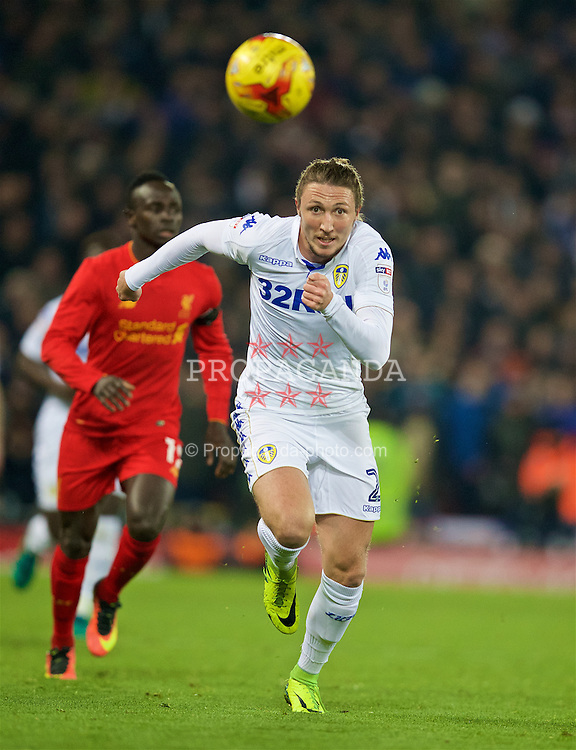 LIVERPOOL, ENGLAND - Tuesday, November 29, 2016: Leeds United's Luke Ayling in action against Liverpool during the Football League Cup Quarter-Final match at Anfield. (Pic by David Rawcliffe/Propaganda)