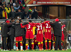 Players of Ghana before penalty shots  at 2010 FIFA World Cup South Africa Quarter Finals football match between Uruguay and Ghana on July 02, 2010 at Soccer City Stadium in Sowetto, suburb of Johannesburg. Uruguay defeated Ghana after penalty shots. (Photo by Vid Ponikvar / Sportida)