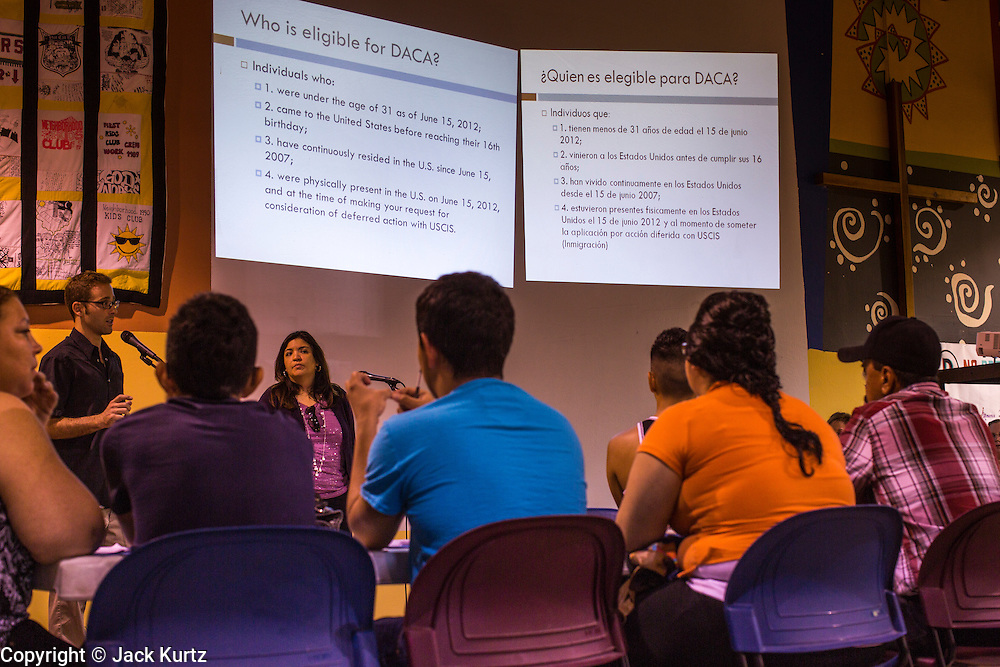 """18 AUGUST 2012 - PHOENIX, AZ:  Immigration lawyers give a presentation on the President's """"deferred action"""" program during a workshop in Phoenix. More than 1000 people attended a series of 90 minute workshops in Phoenix Saturday on the """"deferred action"""" announced by President Obama in June. Under the plan, young people brought to the US without papers, would under certain circumstances, not be subject to deportation. The plan mirrors some aspects the DREAM Act (acronym for Development, Relief, and Education for Alien Minors), that immigration advocates have sought for years. The workshops were sponsored by No DREAM Deferred Coalition.  PHOTO BY JACK KURTZ"""