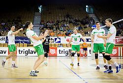 Aljosa Bogozalec of Panvita Pomgrad and other players celebrate during volleyball game between OK ACH Volley and OK Panvita Pomgrad in 1st final match of Slovenian National Championship 2013/14, on April 6, 2014 in Arena Tivoli, Ljubljana, Slovenia. Photo by Vid Ponikvar / Sportida